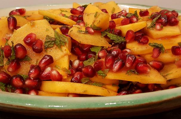 Persimmom and Pomegranate Salad with Mint, Lemon, Nutmeg and Honey