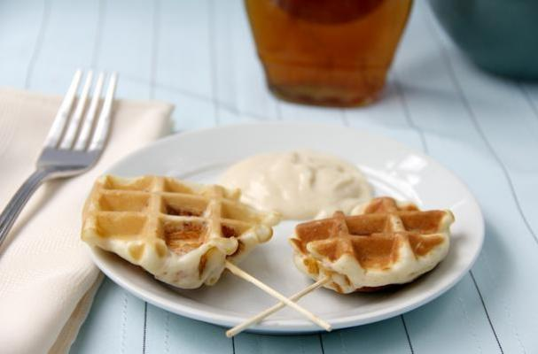Crunchy Chicken Stuffed Waffle Pops and Maple Dijon Dip