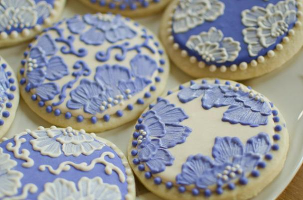 lacy decorated sugar cookies with royal icing