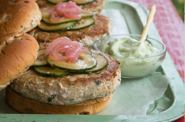 Tuna Burgers with Pickled Onion, Cucumbers, and Wasabi Mayo