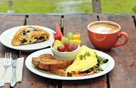 breakfast omelette and scone with latte